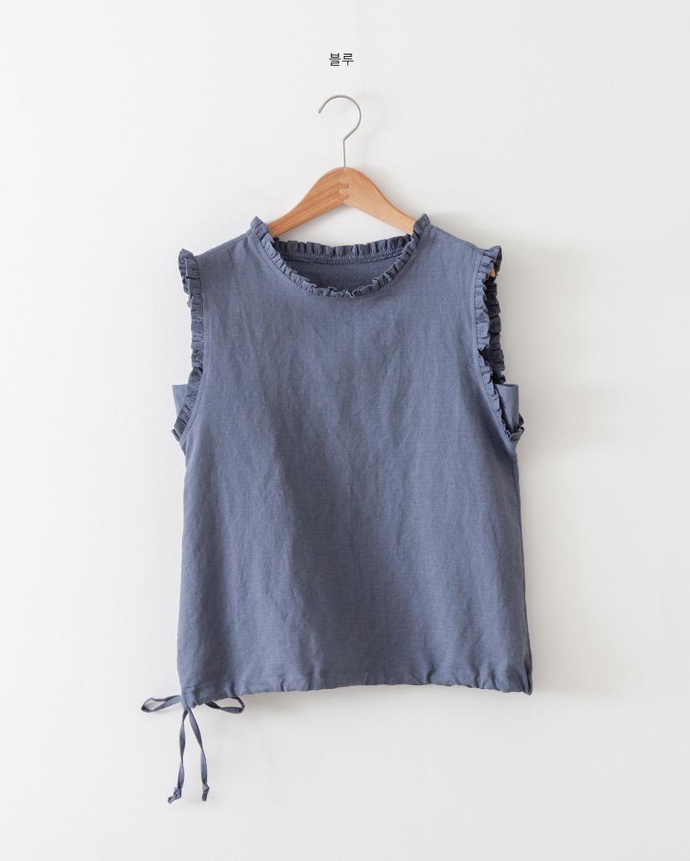 Frill Neck Sleeveless Linen Blouse-Holiholic