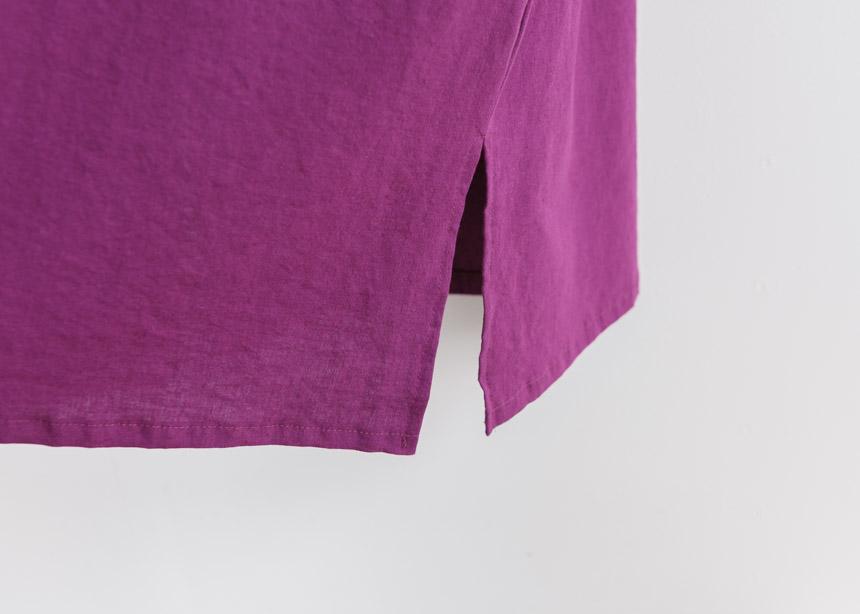 Square Pockets Linen Midi Dress-Holiholic