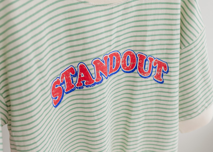 Letter Graphic Striped T-Shirt-Holiholic